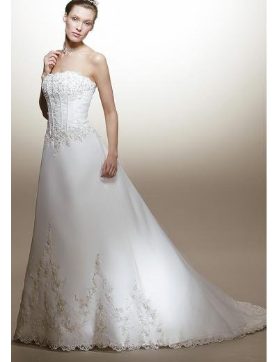 A-Line/Princess Strapless Chapel Train Organza wedding dress for brides new style(WDA1573)