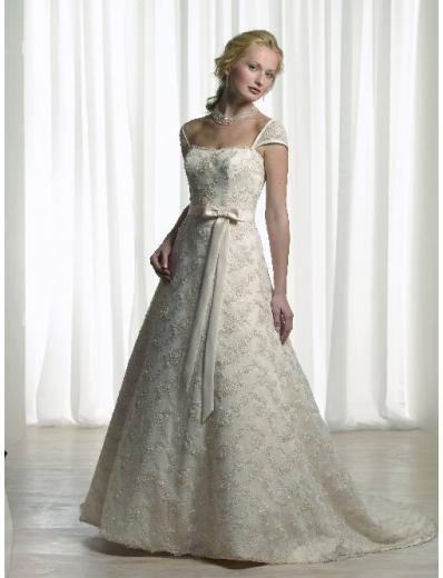 A-Line/Princess Off-the-shoulder Chapel train Satin wedding dress for brides new style(WDA0097)