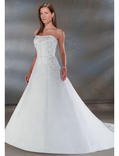 A-Line/Princess Strapless Chapel Train Satin wedding dress for brides new style(WDA0034)
