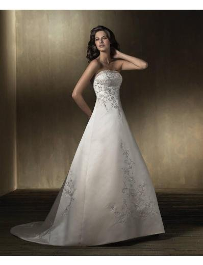 A-Line/Princess Strapless Chapel Train Stain wedding dress for brides new style(WDA1577)