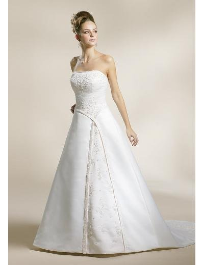 A-Line/Princess Strapless Chapel Train Stain wedding dress for brides new style(WDA1576)