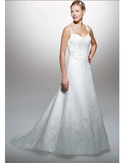 A-Line/Princess spaghetti straps Chapel Train Stain wedding dress for brides new style(WDA1575)