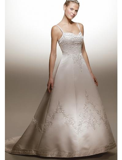 A-Line/Princess spaghetti straps Chapel Train Stain wedding dress for brides new style(WDA1574)