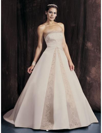 A-Line/Princess Strapless Chapel train Satin wedding dress for brides new Style(WDA1648)