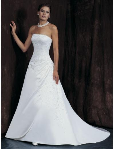A-Line/Princess Strapless Chapel train Satin wedding dress for brides new Style(WDA1647)