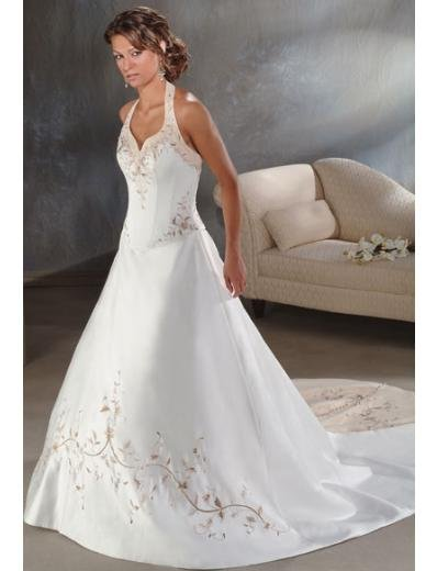 A-Line/Princess Halter Top Cathedral Train Satin wedding dress for brids new style(WDA0029)