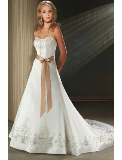 A-Line/Princess Strapless Chapel train Satin wedding dress for brides new Style(WDA1639)