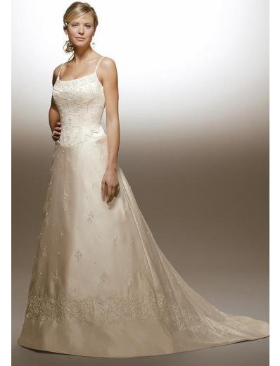 A-Line/Princess spaghetti straps Chapel train Satin wedding dress for brides new Style(WDA1638)