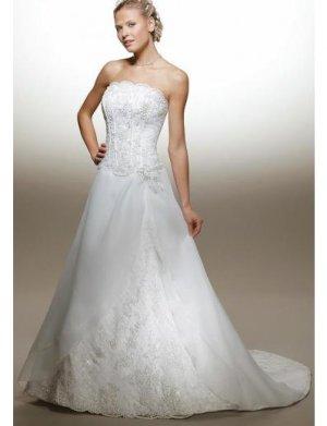 A-Line/Princess Strapless Chapel train Satin wedding dress for brides new Style(WDA1637)
