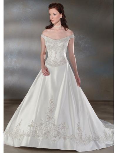 A-Line/Princess Off-the-shoulder Chapel Train wedding dress for brides new style(WDA0024)