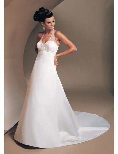 A-Line/Princess Halter Top Chapel Train Stain wedding dress (SEW1561)