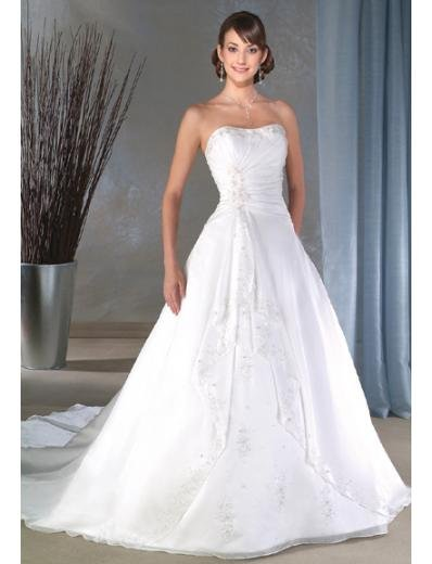 A-line/Princess Strapless Chapel Train Chiffon wedding dress for brides new style(WDA0063)