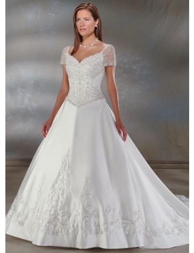 A-Line/Princess V-neck Chapel Train Satin wedding dress for brides new style(WDA0022)