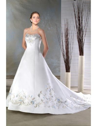 A-line/Princess strapless Chapel Train Satin wedding dress for brides new style(DWA0062)