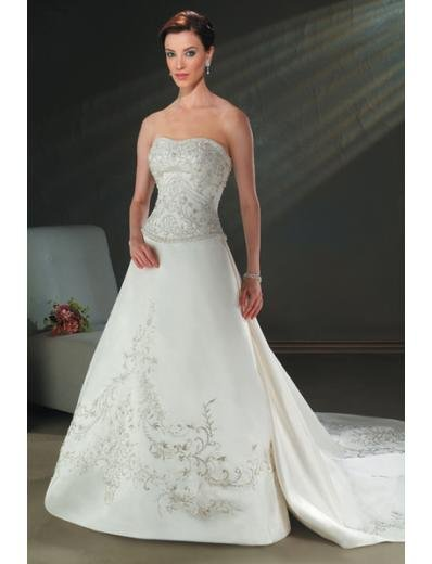 A-line/Princess Strapless Cathedral Train Satin wedding dress for brides new style(WDA0065)