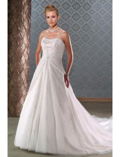 A-Line/Princess Strapless Chapel train Chiffon wedding dress for brides new Style(WDA1640)