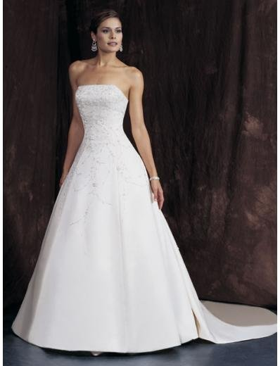 A-Line/Princess Strapless Chapel train Satin wedding dress for brides gowns new Style(WDA1646)