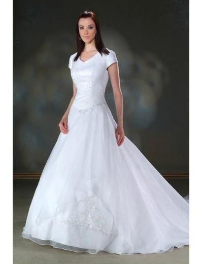 A-Line/Princess V-neck Cathedral train Satin wedding dress for brides gowns new Style(WDA1645)