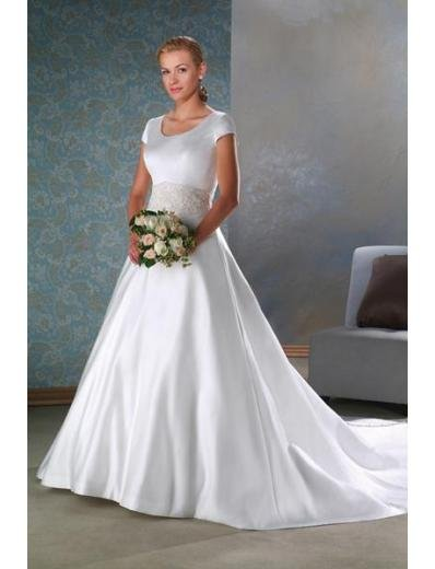 A-Line/Princess Scoop Cathedral train Satin wedding dress for brides gowns new Style(WDA1644)