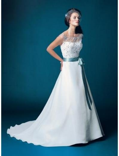 A-Line/Princess Queen-Anne Chapel Train Stain wedding dress for brides gowns new style(WDA1566)
