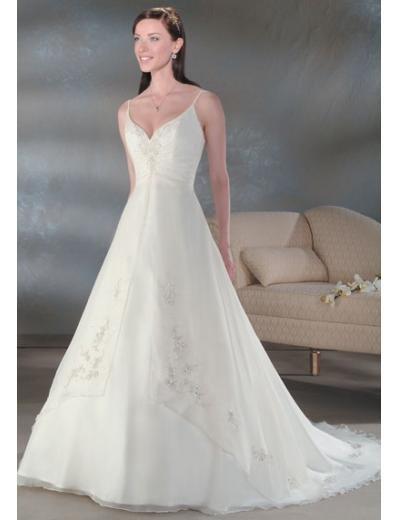 A-Line/Princess V-neck Chapel Train Chiffon wedding dress for brides gowns new styl(WDA0027)