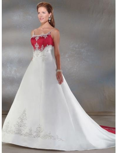 A-Line/Princess spaghetti straps Cathedral Train Satin wedding dress for brides gowns new(WDA0026)