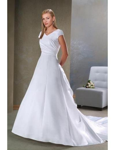 A-Line/Princess V-neck Chapel train Satin wedding dress (SEW1642) for brides gowns new style