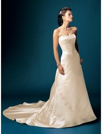A-Line/Princess Strapless Chapel Train Stain wedding dress for brides gowns new style(WDA1565)