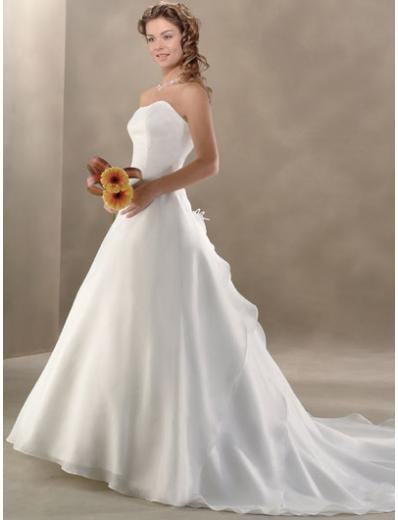 A-Line/Princess Strapless Chapel Train Chiffon wedding dress for brides gowns new style(BST0021)