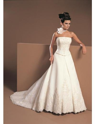 A-Line/Princess Strapless Chapel Train Satin wedding dress for brides gowns new Style(WDA1682)