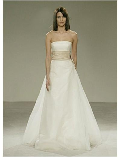 A-Line/Princess Strapless Floor-length Satin wedding dress for brides gowns new style(WDA0555)