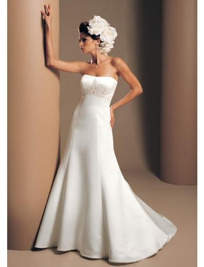 A-Line/Princess Strapless Chapel Train Satin wedding dress for brides gowns new Style(WDA1673)