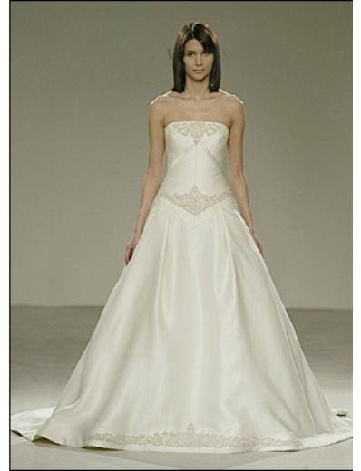 A-Line/Princess Strapless Chapel train Satin wedding dress for brides gowns new style(WDA0554)