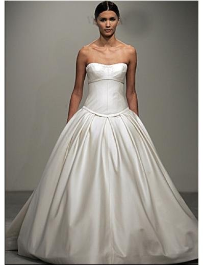 A-Line/Princess Strapless Cathedral train Satin wedding dress for brides gowns new style(WDA0552)