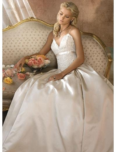 A-Line/Princess V-Neck Chapel Train Stain wedding dress for brides gowns new style(WDA1594)
