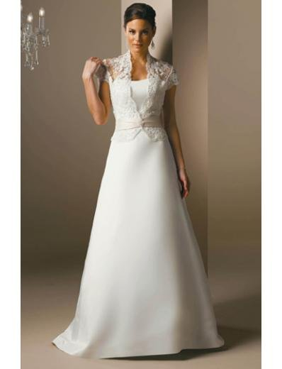 A-Line/Princess high-neck Chapel Train Satin wedding dress for bridal gowns (SEW1671)
