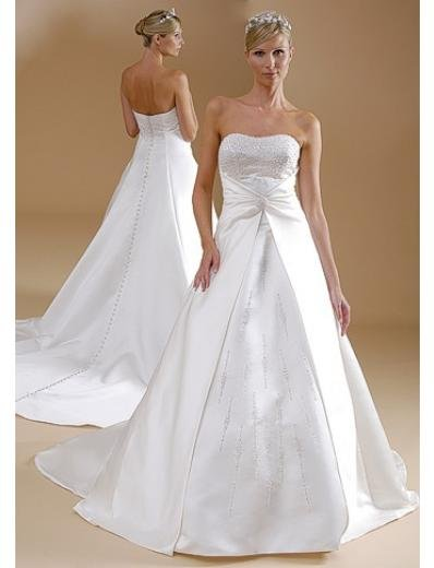 A-Line/Princess Strapless Chapel Train Stain wedding dress for brides gowns new style(WDA1593)