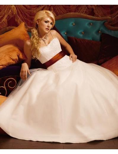 A-Line/Princess Spaghetti straps Chapel Train Stain wedding dress for brides gowns new(WDA1592)