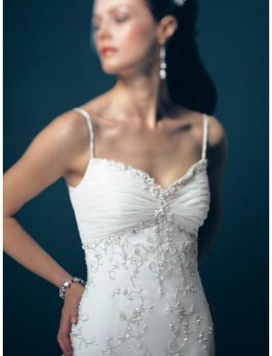 A-Line/Princess spaghetti straps Chapel Train Satin wedding dress for brides gowns new(WDA1674)