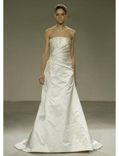 A-Line/Princess Strapless Chapel train Satin wedding dress for brides gowns new(WDA0557)