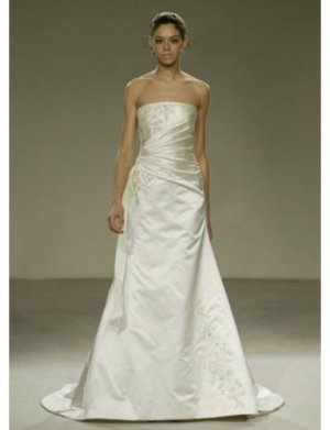 A-Line/Princess Strapless Chapel train Satin wedding dress for brides gowns new(WDA0557)