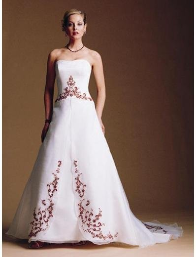 A-Line/Princess Strapless Chapel Train Satin wedding dress for brides gowns new Style(WDA1681)