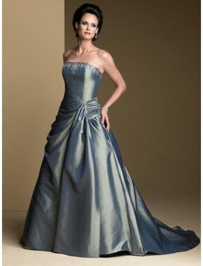 A-Line/Princess Strapless Chapel Train Satin wedding dress for brides gowns new Style(WDA1680)