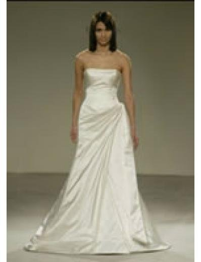 A-Line/Princess Strapless Chapel train Satin wedding dress for brides gowns new style(WDA0567)