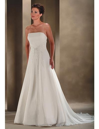 A-Line/Princess Strapless Chapel Train Chiffon wedding dress for brides gowns new style(WDA0008)