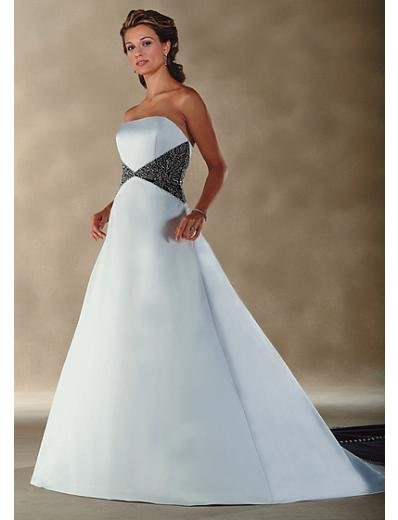 A-Line/Princess Strapless Chapel Train Satin wedding dress for brides gowns new style(WDA0007)