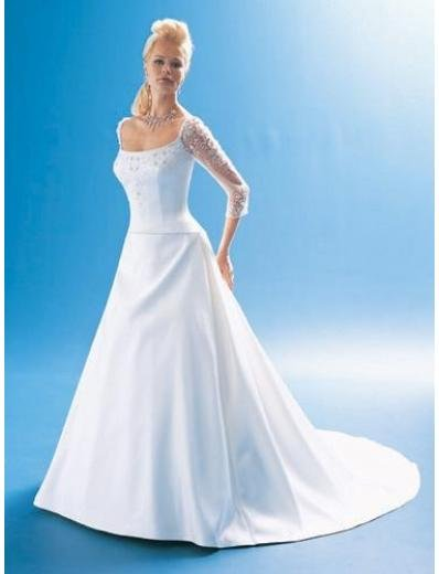 A-Line/Princess Square Chapel Train Satin wedding dress for brides gowns new Style(WDA1677)