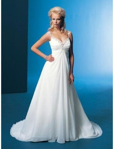 A-Line/Princess V-neck Chapel Train Chiffon wedding dress for brides gowns new Style(WDA1675)