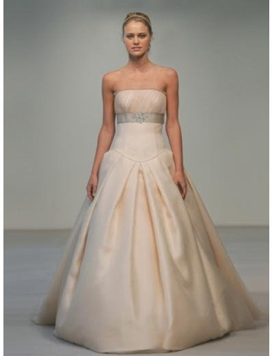 A-Line/Princes Strapless Chapel train Satin wedding dress for brides gowns new style(WDA0547)