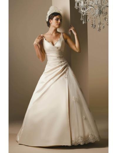A-Line/Princess V-neck Chapel Train Satin wedding dress for brides gowns new Style(WDA1668)